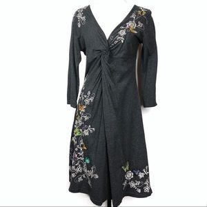 Johnny Was Dresses - Johnny Was Gray Butterfly Embroidered Dress